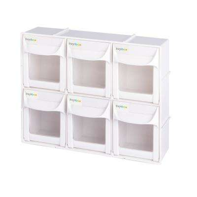 Patented Ultimate Tip Out Series 12 in. Crafts and Hardware Organizer Plastic Storage Bin with 6-Compartments