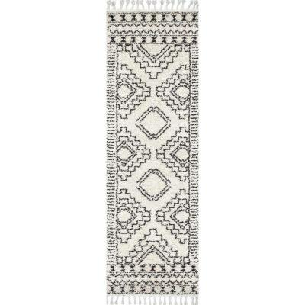 Vasiliki Moroccan Tassel Shag Off-White 3 ft. x 8 ft. Runner