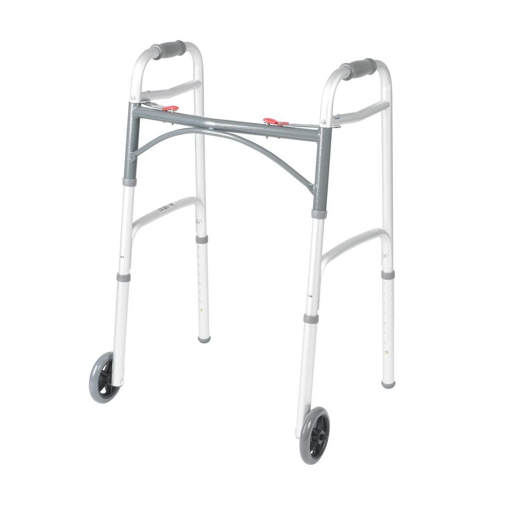 Deluxe 2-Button Folding Walker with 5 in. Wheels