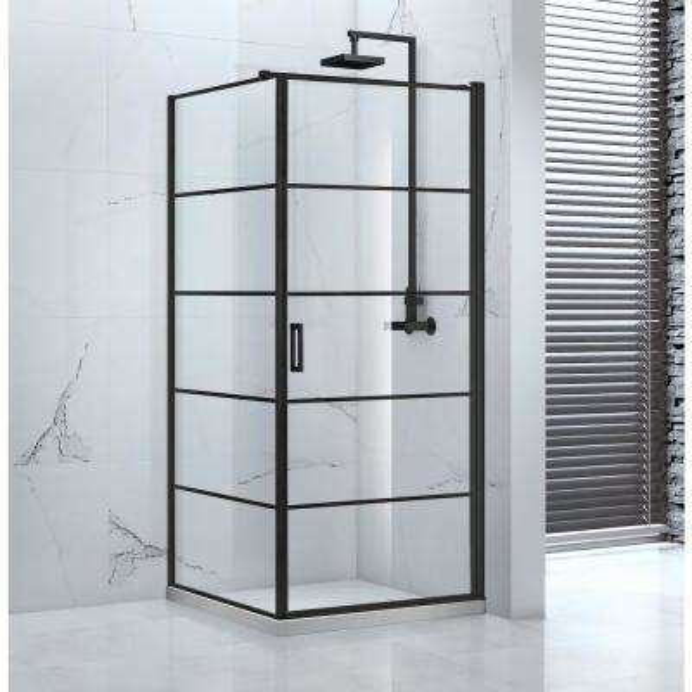 Vaneau 36 in. x 77 in. Framed Corner Pivot Shower Enclosure in Black