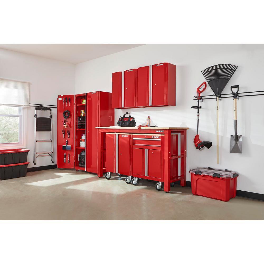 108 in. W x 98 in. H x 24 in. D Steel Garage Cabinet Set in Red (6-Piece)