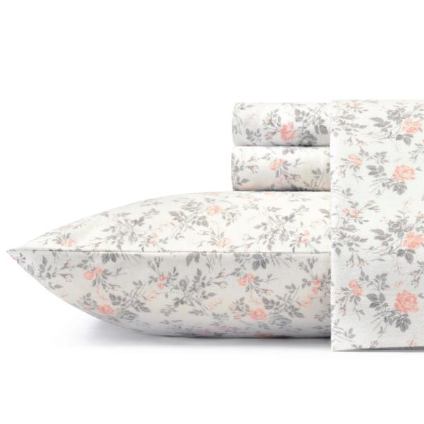 Laura Ashley Rosalie 4 Piece Light Pastel Gray Floral Flannel Queen Sheet Set 223724 The Home Depot