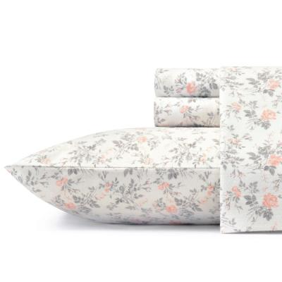 Flannel 4-Piece Light Pastel Grey Floral Queen Sheet Set