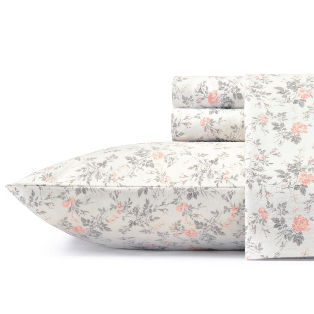 Rosalie Grey 4-Piece King Cotton-Flannel Sheet Set