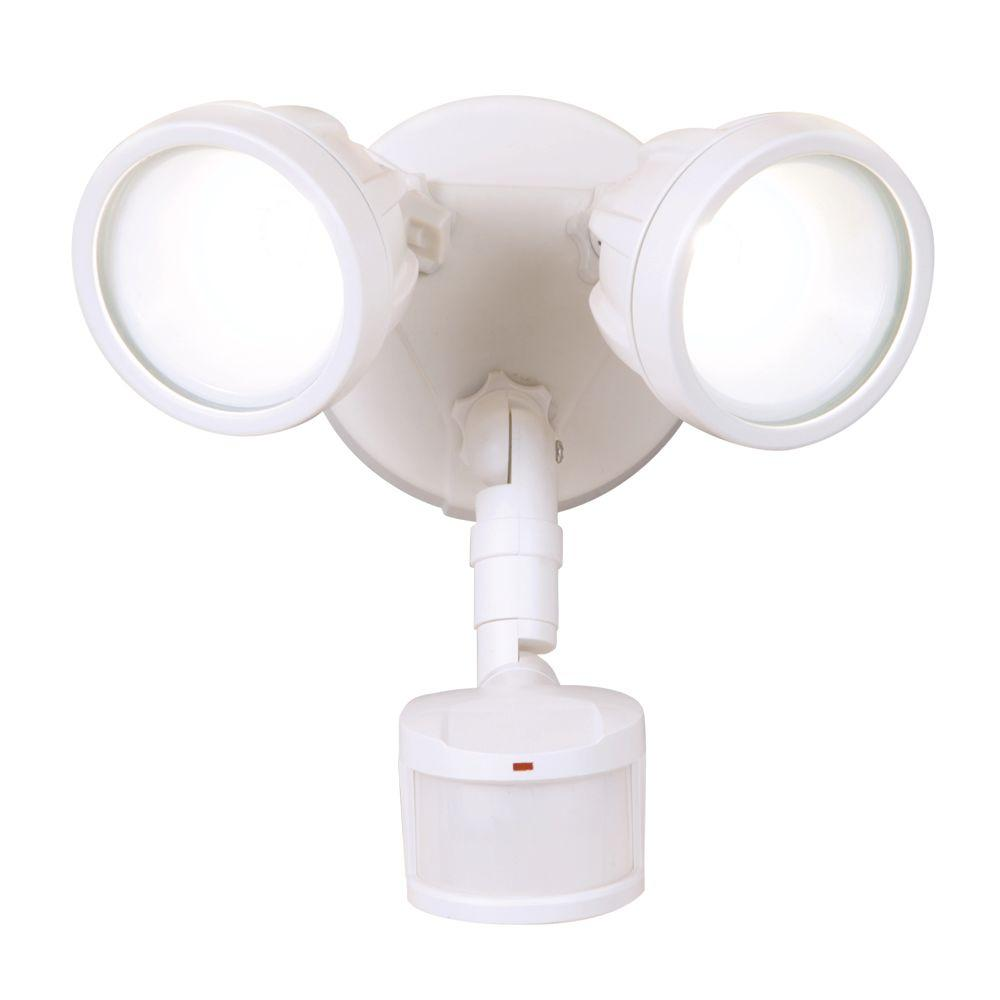 180 Degree White Motion Activated Sensor Twin Head Round Outdoor Integrated  LED