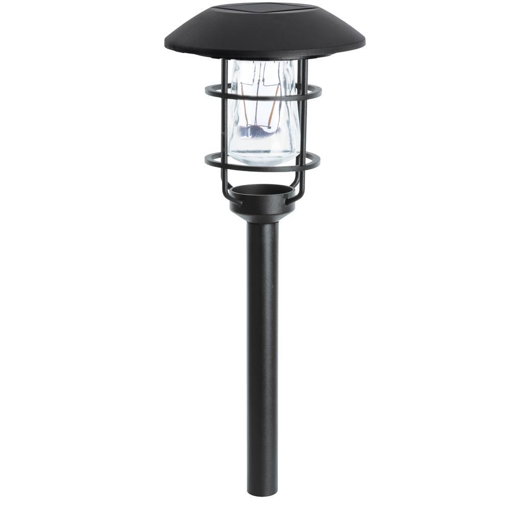 Good Hampton Bay Solar Black Outdoor Integrated LED Landscape Path Light (6 Pack)