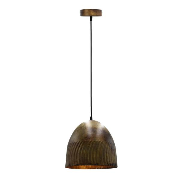 1-Light Bronze Bowl Pendant with Metal Shade