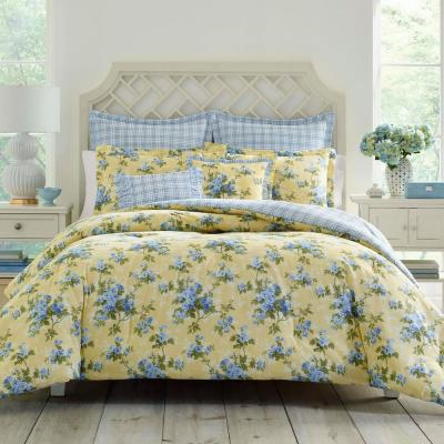 Cassidy Yellow Cotton 7-Piece Comforter Set, Full/Queen