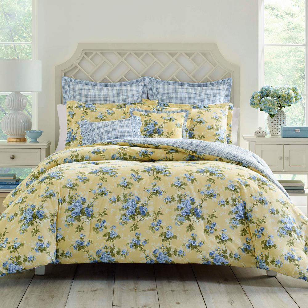 Laura Ashley Cassidy Yellow Cotton 7 Piece Comforter Set, King