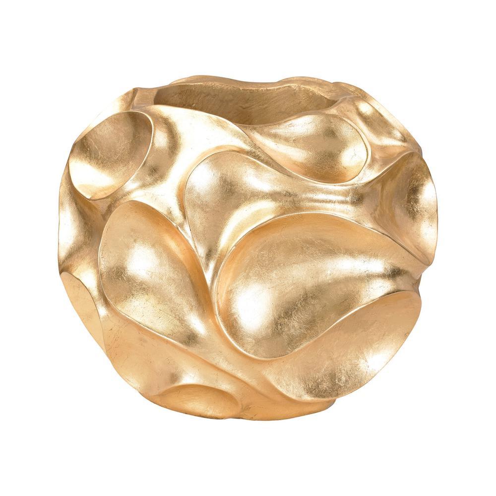 Wave Texture 13 in. Fiberglass Decorative Vase in Gold