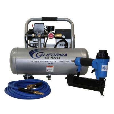 2.0 Gal. 1.0 HP Portable Electric Ultra Quiet, Oil-Free and Aluminum Air Tank Air Compressor with Nail Gun Kit