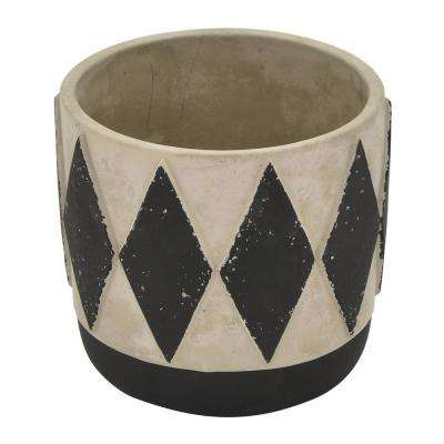 5.5 in. Gray and Black Flower Pot