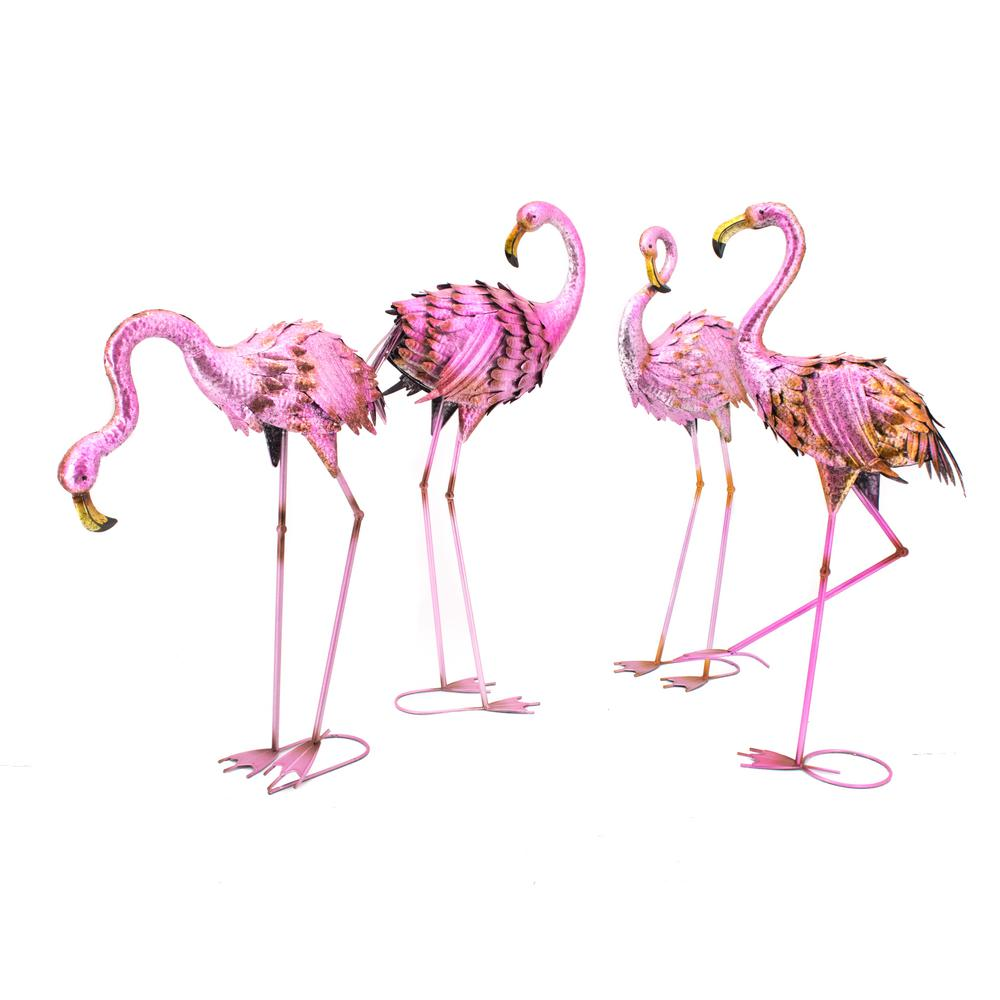 Null Assorted Flamingo Garden Statues (Set Of 4)