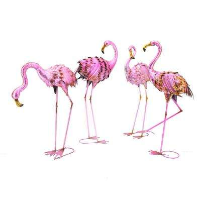 Assorted Flamingo Garden Statues (Set of 4)