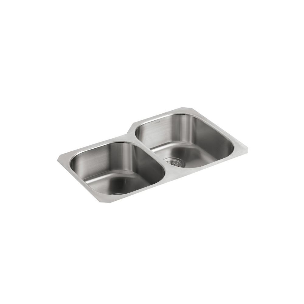 KOHLER Undertone Undercounter Stainless Steel 31x20-1/8x7.625 0-Hole Double Bowl Kitchen Sink-DISCONTINUED
