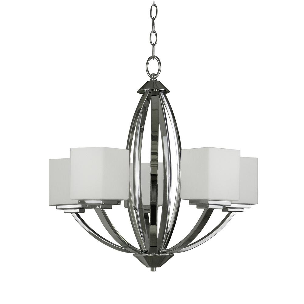 5-Light Chrome Chandelier with Etched White Glass Shade