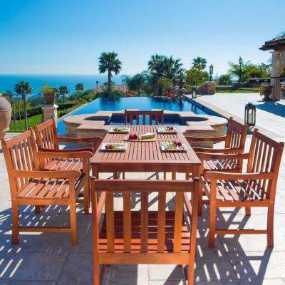 Malibu 7-Piece Wood Rectangular Outdoor Dining Set