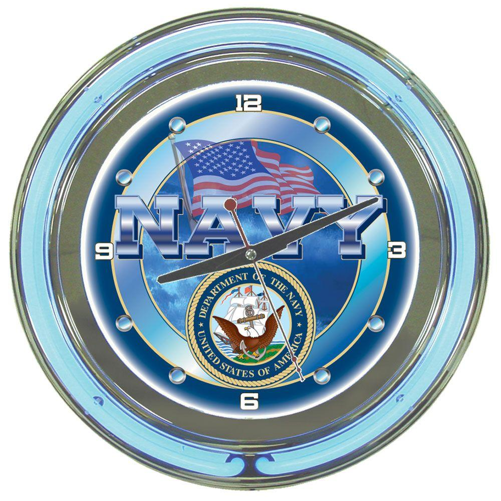Trademark 14 in. United States Navy Neon Wall Clock