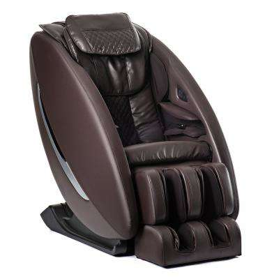 Ji Brown Modern Synthetic Leather Premium Zero Wall Heated L Track Massage Chair