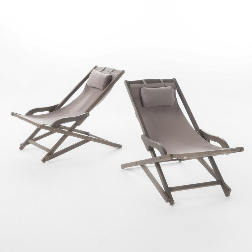 Noble House Juelz Grey 2-Piece Sling Outdoor Chaise Lounge