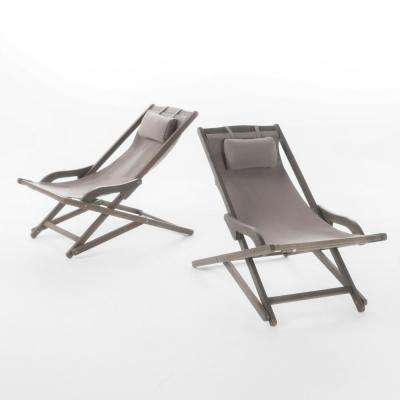 Juelz Grey 2-Piece Sling Outdoor Chaise Lounge