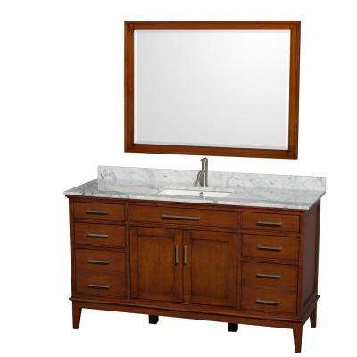 Hatton 60 in. Vanity in Light Chestnut with Marble Vanity Top in Carrara White, Square Sink and 44 in. Mirror