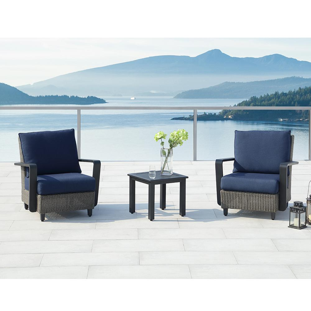 Augusta Charcoal 3-Piece Aluminum Patio Conversation Set with Sunbrella Blue