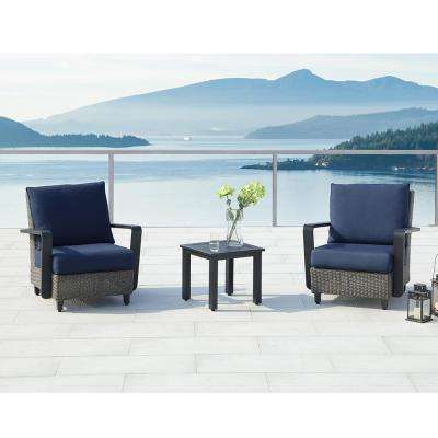 Augusta Charcoal 3-Piece Aluminum Patio Conversation Set with Sunbrella Blue Cushions