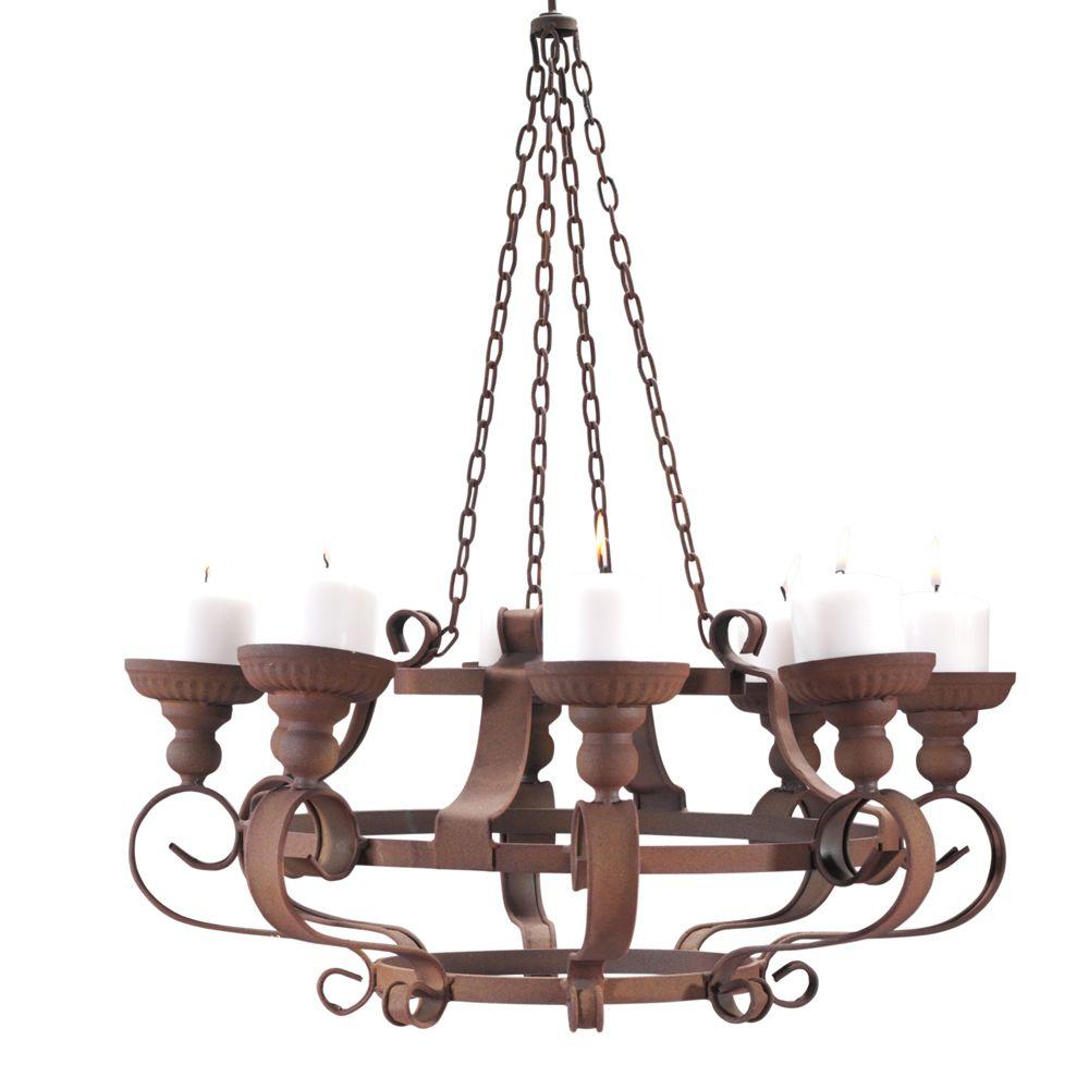 Home Decorators Collection Rusty Metal 24 in. Chandelier Cand le Holder