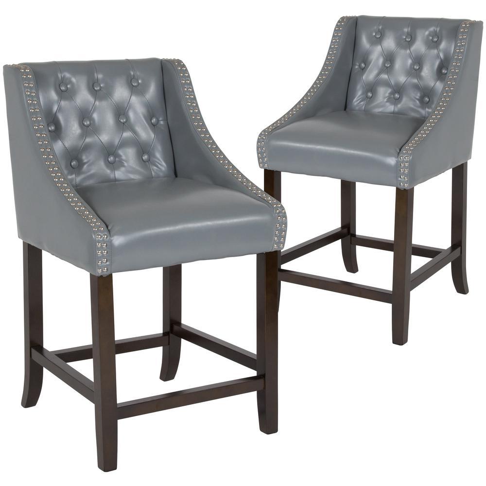 Superb 24 In Light Gray Leather Bar Stool Set Of 2 Forskolin Free Trial Chair Design Images Forskolin Free Trialorg