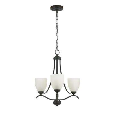 3-Light Bronze Chandelier with Etched Glass Shades