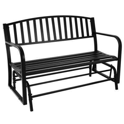 2-Person Black Steel Outdoor Glider Bench