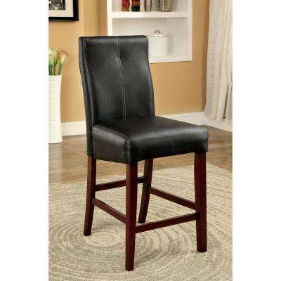 Bonneville II Brown Cherry and Black Contemporary Style Counter Height Chair (2-Pack)