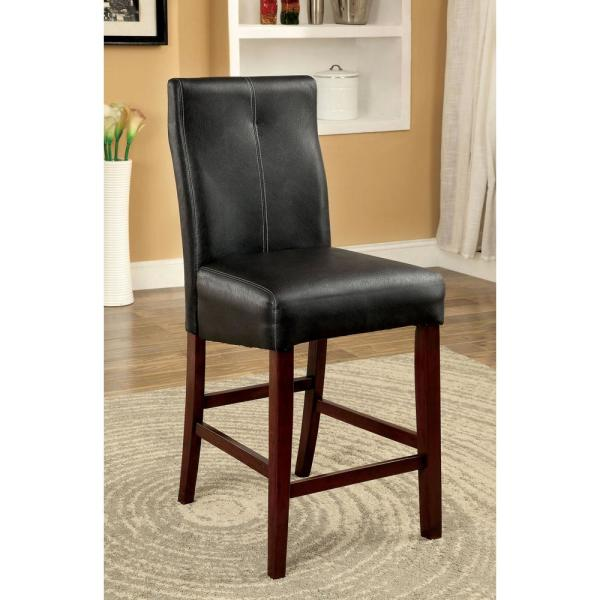 Undefined Bonneville Ii Brown Cherry And Black Contemporary Style Counter Height Chair 2 Pack