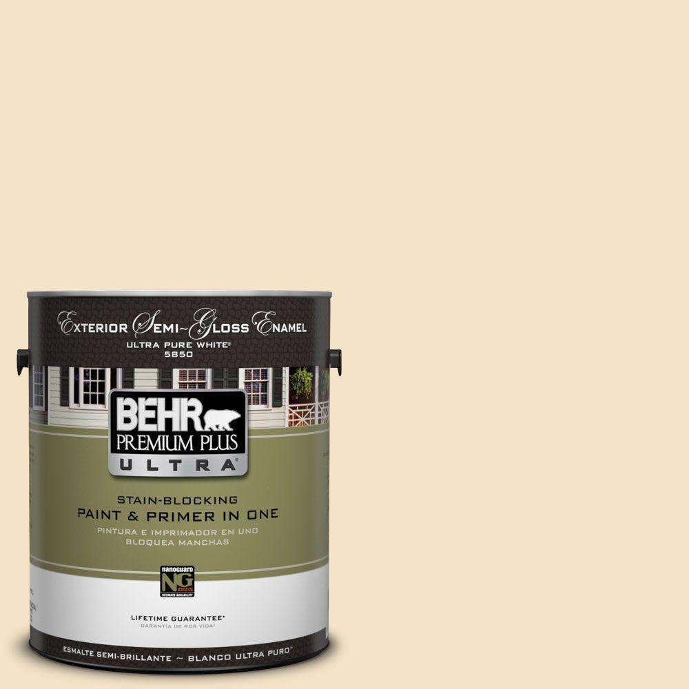 BEHR Premium Plus Ultra 1-Gal. #UL180-16 Cream Puff Semi-Gloss Enamel Exterior Paint