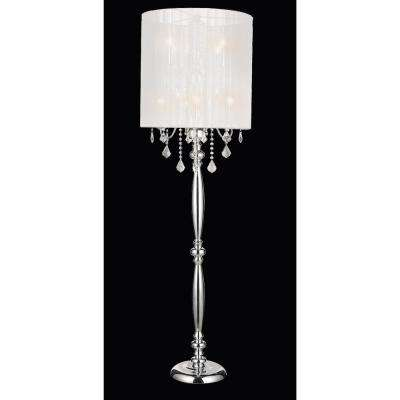 Sheer 67 in. Chrome Floor Lamp with White Shade