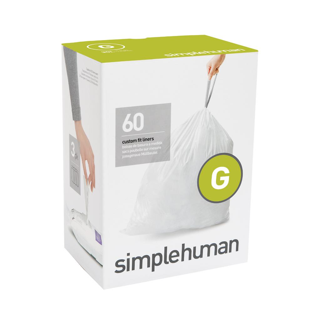 Simplehuman 8 Gal Custom Fit Trash Can Liner Code G 60 Count