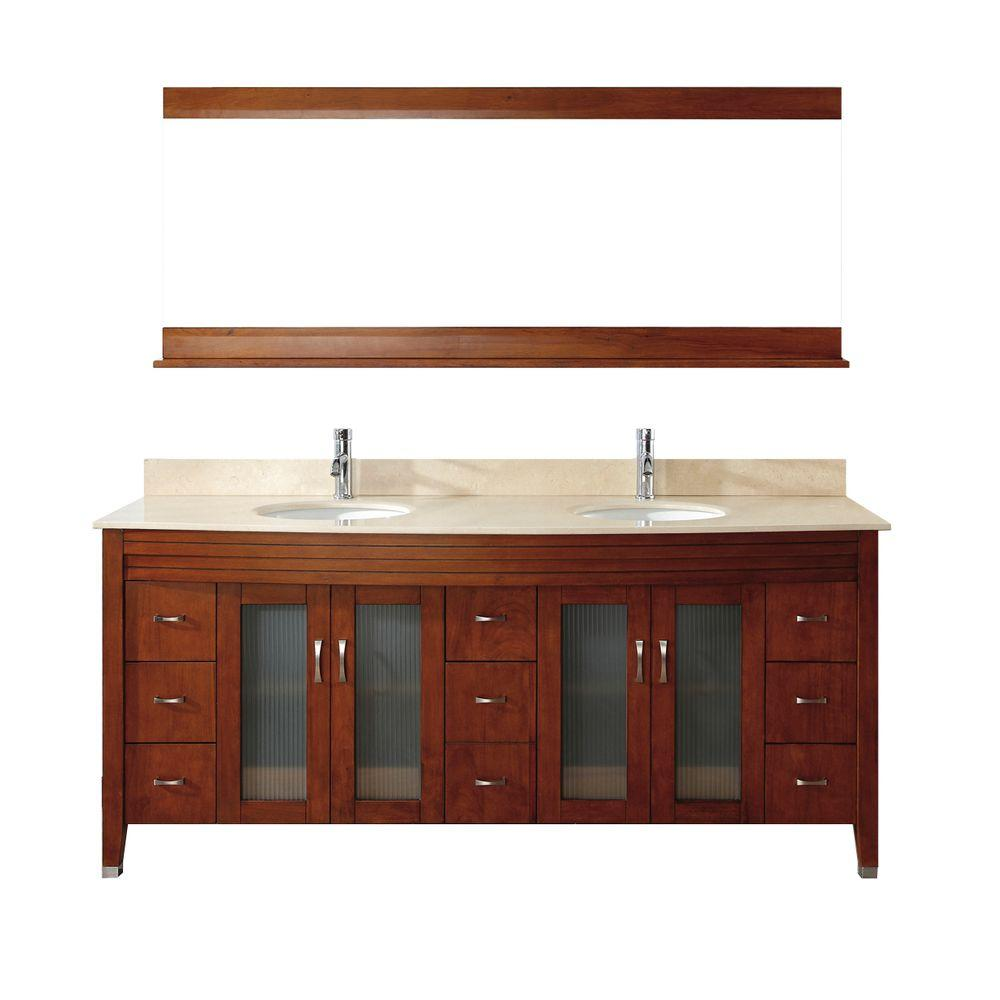 Alba 75 in. Vanity in Classic Cherry with Marble Vanity Top