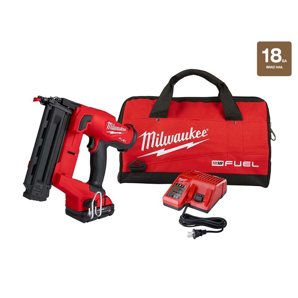 Milwaukee M18 FUEL GEN II 18-Volt 18-Gauge Lithium-Ion Brushless Cordless Brad Nailer Kit with One 2.0 Ah Battery, Charger and Bag