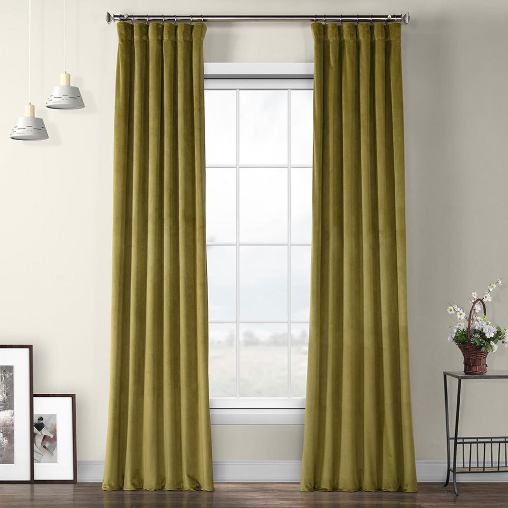 Retro Green Plush Velvet Curtain - 50 in. W x 96 in. L