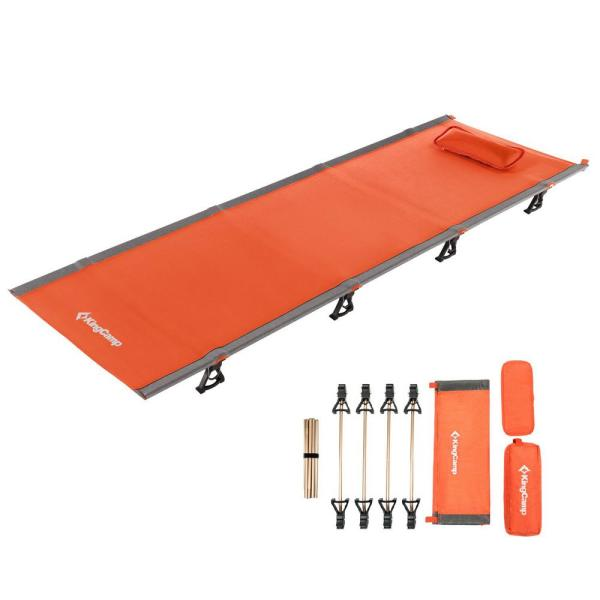 Heavy Duty Military Grade Aluminum Holds Up to 440-550 Lbs with Carry Bag KingCamp Folding Camping Cot,Sturdy Portable Sleeping Bed Ultralite Cot with Pillow