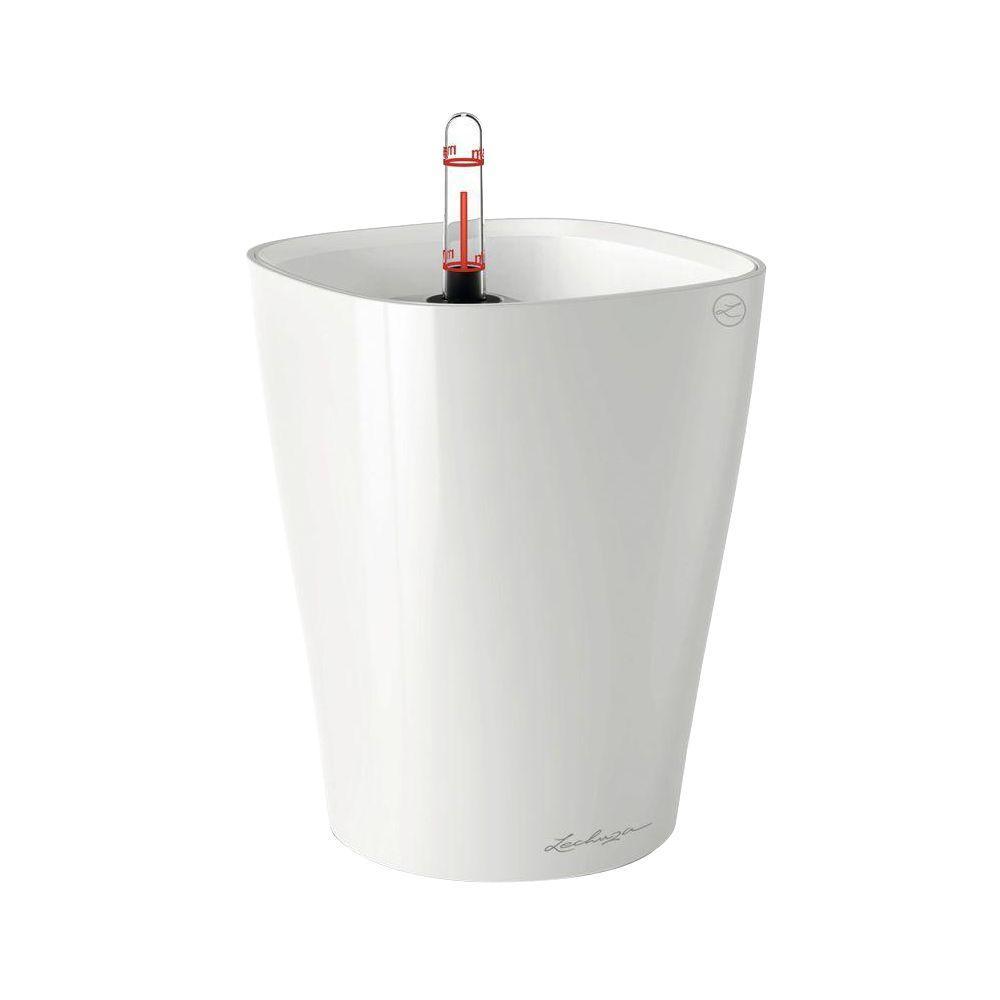 Deltini Premium 6 in. Square White High Gloss Table Top Self Watering Plastic Planter