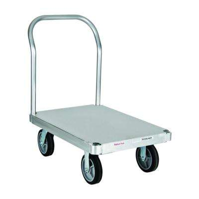 2,800 lb. Capacity 24 in. x 48 in. Smooth Deck Aluminum Platform Truck w/ One Handle, 8 in. Thermoplastic Rubber Wheels