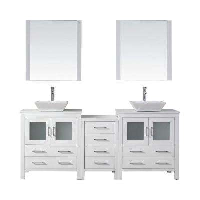 Dior 79 in. W Bath Vanity in White with Stone Vanity Top in White with Square Basin and Mirror and Faucet