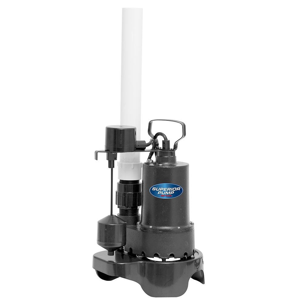 Superior Sump Pump 1//3 HP Submersible Thermoplastic Water Vertical Float Switch
