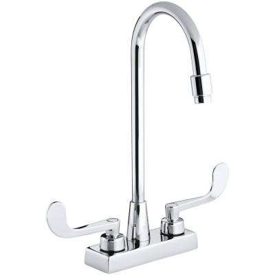 Triton 4 in. 2-Handle High-Arc Commercial Bathroom Faucet in Polished Chrome
