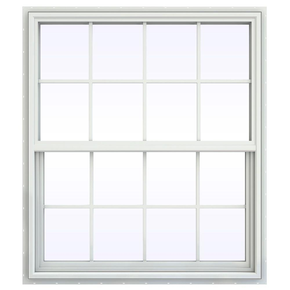 JELD-WEN 41.5 in. x 41.5 in. V-4500 Series Single Hung Vinyl Window with Grids - White