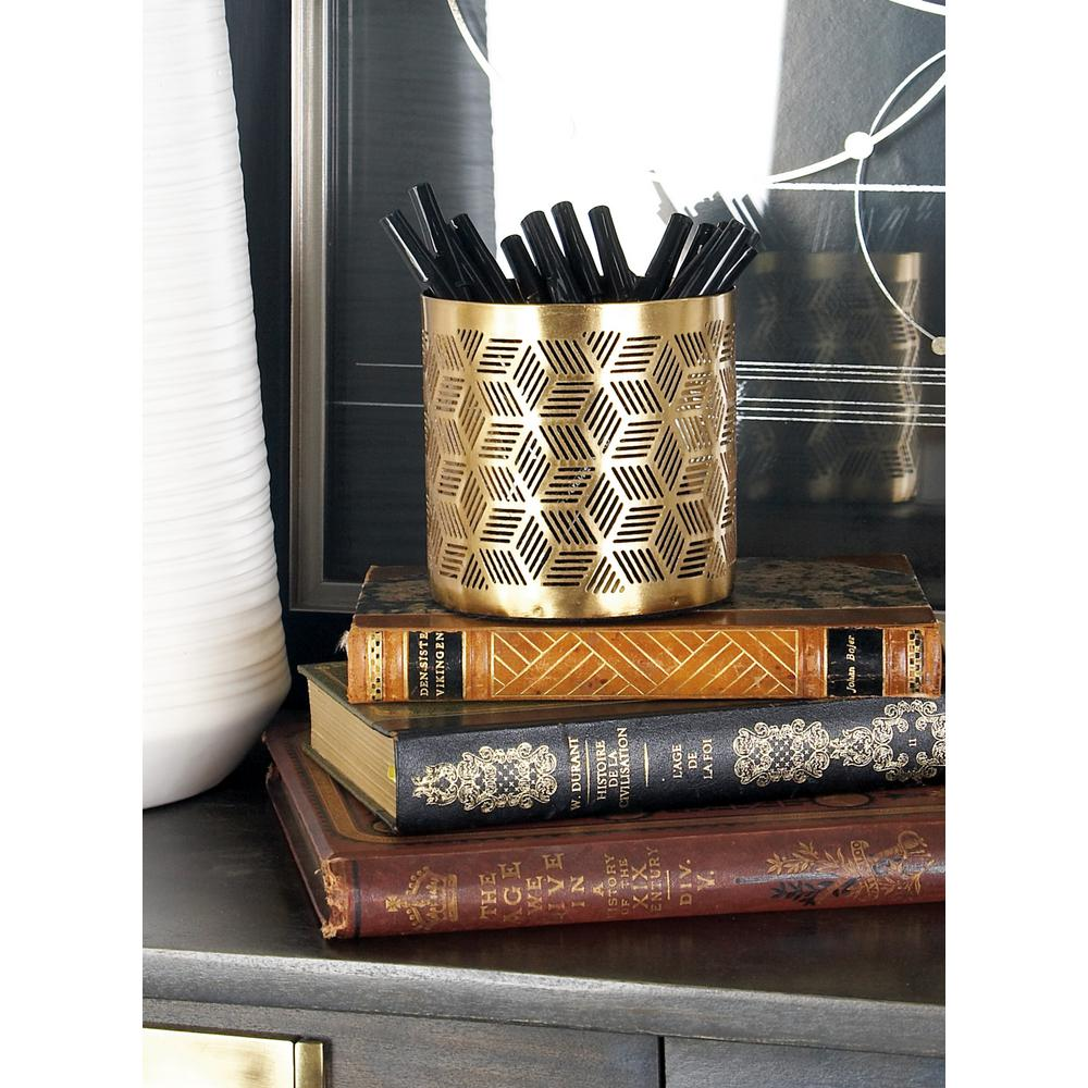 Gold Iron Geometric Lattice-Designed Round Pencil Holder