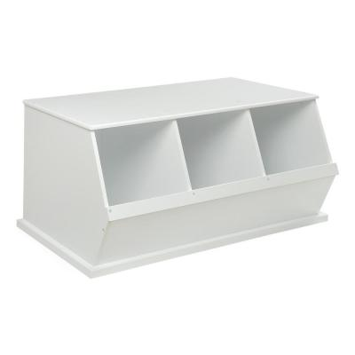 Badger Basket 37 In W X 17 In H X 19 In D White Stackable 3 Storage Cubbies 09778 The Home Depot