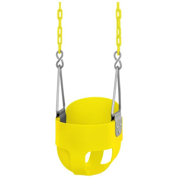High Back Full Bucket Toddler and Baby Swing Vinyl Coated Chain Fully Assembled in Yellow